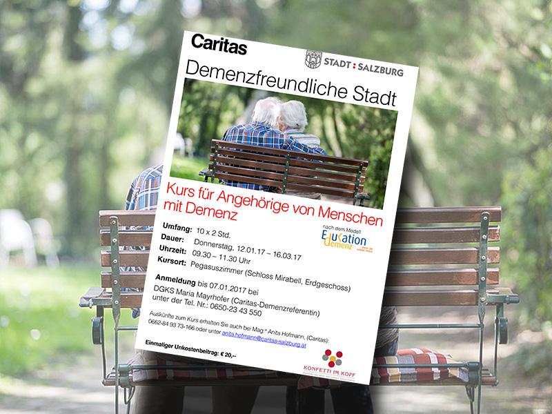 Ein Folder für die Veranstaltung für Angehörige von Demenzkranken